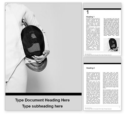Sports: Fencer Girl Holding a Fencing Mask Word Template #15826