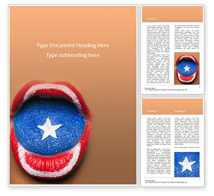 Holiday/Special Occasion: Beautiful Female Lips and Tongue Painted in Captain America's Shield Style Word Template #15827