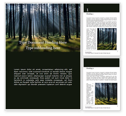Nature & Environment: Modello Word Gratis - Foresta di abeti rossi #15830