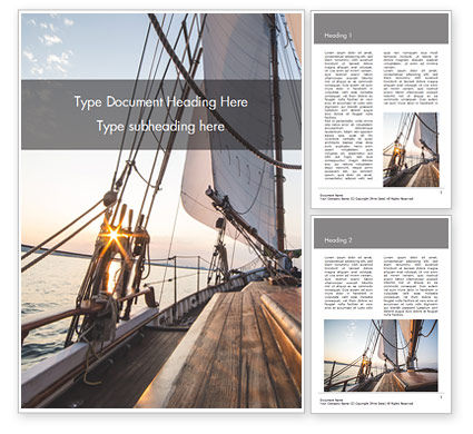 Sports: Sailboat Deck on Sunset Word Template #15836