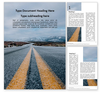 Cars/Transportation: Low View of Road Leading Into Mountains Word Template #15839