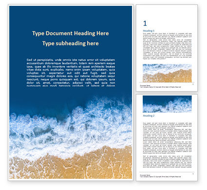 Nature & Environment: Aerial View of Sandy Beach and Ocean with Waves Word Template #15846