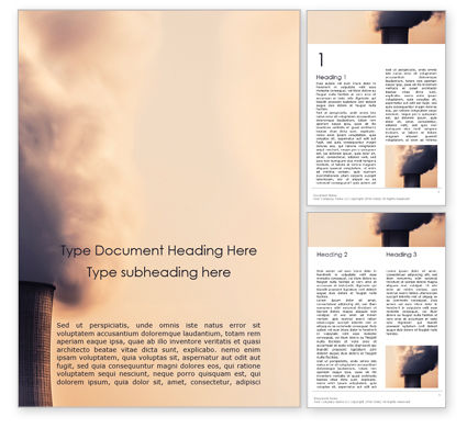 Utilities/Industrial: Steaming Industrial Chimney Word Template #15856