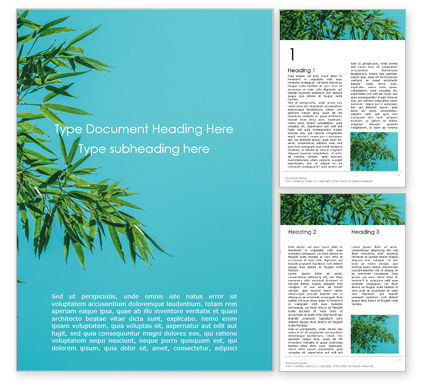 Bamboo Leaves on Blue Background Word Template 15857