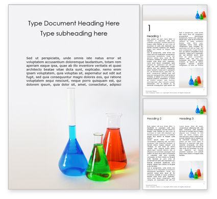 Education & Training: Three Assorted-Color Liquid-Filled Laboratory Apparatuses Word Template #15861