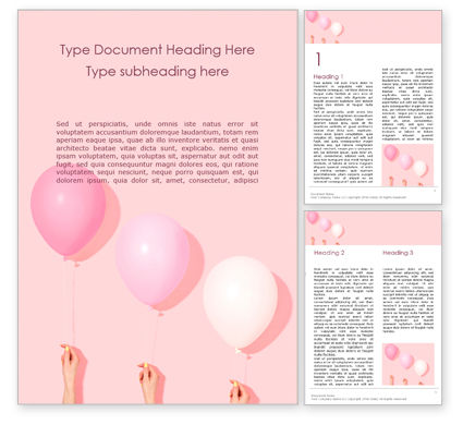Holiday/Special Occasion: Hands Holding Pink and White Balloons Word Template #15864