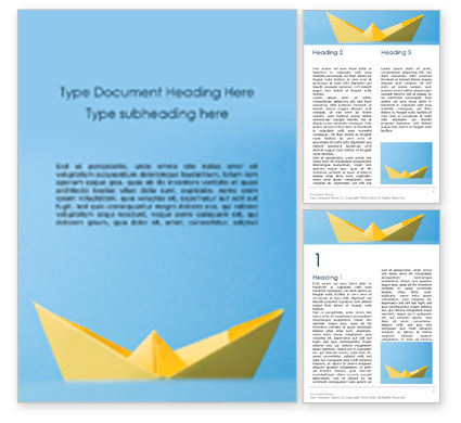 Business Concepts: Yellow Color Origami Paper Ship Word Template #15870