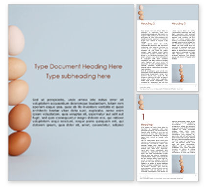 Food & Beverage: Levitating Brown and White Eggs Word Template #15871