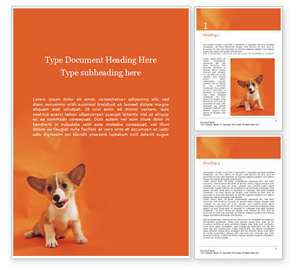 General: Cute Puppy Portrait on Orange Background Word Template #15876