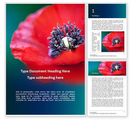 Nature & Environment: Red Poppy Closeup Word Template #15878