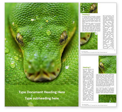 Nature & Environment: Emerald Python Coiled on Tree Word Template #15879