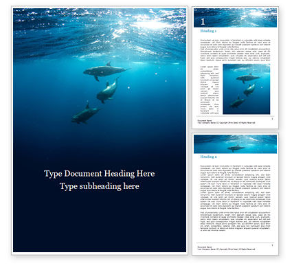 Nature & Environment: A Group of Dolphins Under Water Word Template #15883