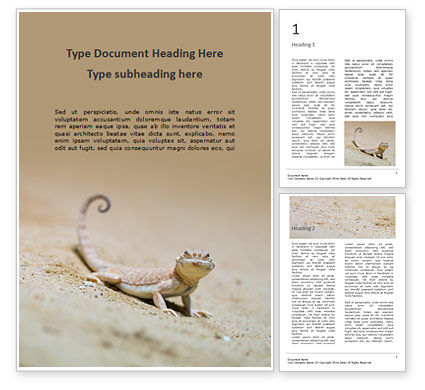 Global: Lizard on the Sand Word Template #15886