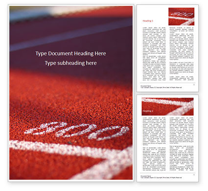 Sports: Low Angle View of Track Field Word Template #15887