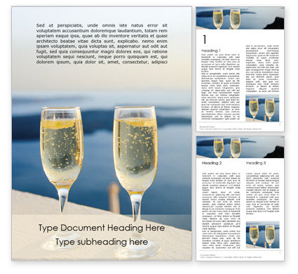 Food & Beverage: Two Prosecco Glasses Against a Sea Word Template #15892