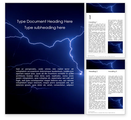 Nature & Environment: Dark Stormy Sky with Lightnings Word Template #15897