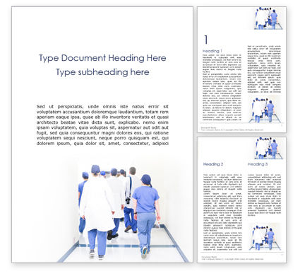 Medical: Back View of Team of Doctors and Nurses Word Template #15900