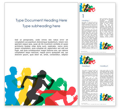 Sports: Colorful Silhouettes of Running Men and Women Word Template #15901