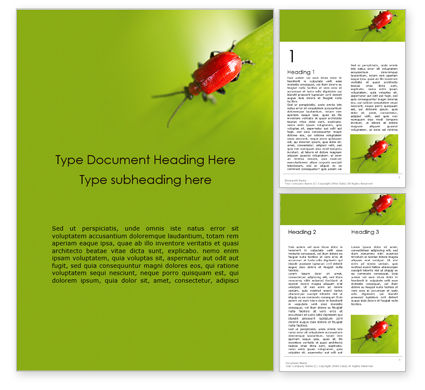 Nature & Environment: Lily Beetle Sitting on a Green Leaf Word Template #15902