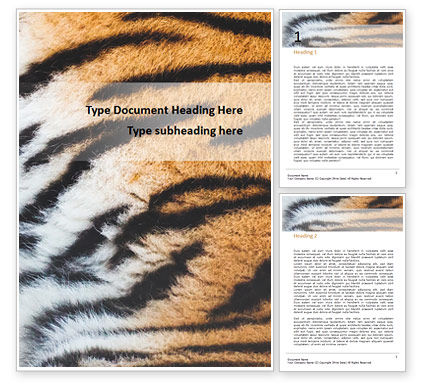Abstract/Textures: Close View of Tiger Skin Word Template #15906