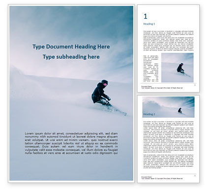 Sports: Snowboarder in Fine White Powder Snow Word Template #15907