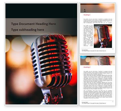 Art & Entertainment: Modèle Word gratuit de vieux microphone de mode sur fond de bokeh #15908