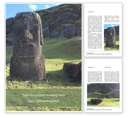 Art & Entertainment: Moai Standing in Easter Island Word Template #15910