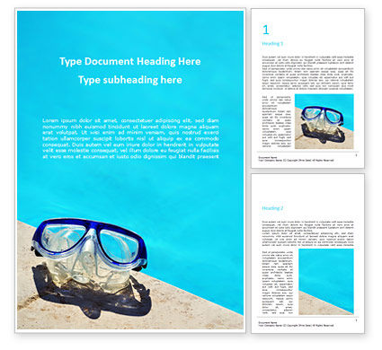 Holiday/Special Occasion: Pool Mask at Edge of the Pool Word Template #15912