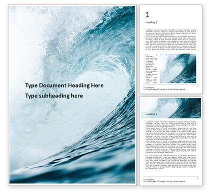 Nature & Environment: Blue Ocean Wave Word Template #15915