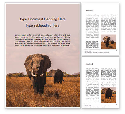 Nature & Environment: African Elephants Word Template #15919