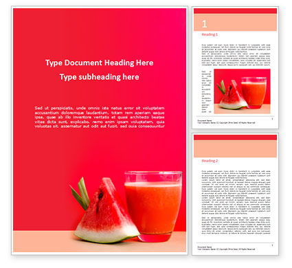 Food & Beverage: Watermelon Juice Word Template #15924