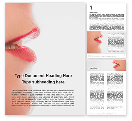 People: Red Lips Closeup Word Template #15936