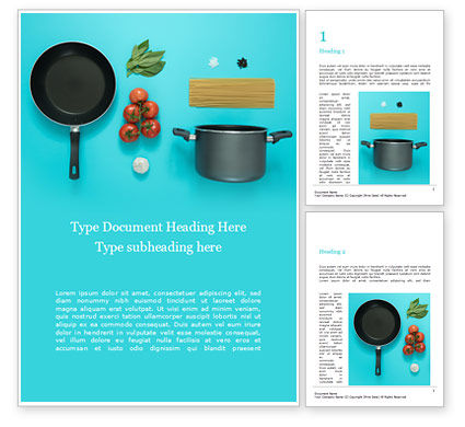 Careers/Industry: Cooking Pot and Frying Pan with Tomatoes Word Template #15937