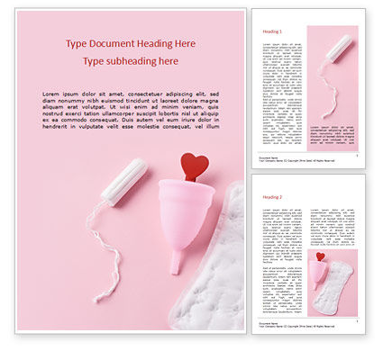 Medical: Sanitary Pad Menstrual Cup Tampon and Red Heart Word Template #15939