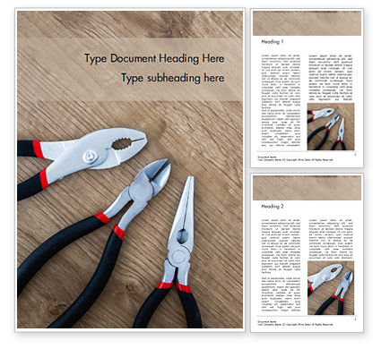 Careers/Industry: Pliers and Wire Cutters on Wooden Fool Word Template #15945