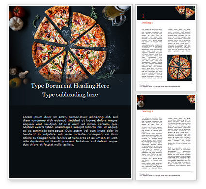 3D: Pizza on Black Table with Ingredients Word Template #15946
