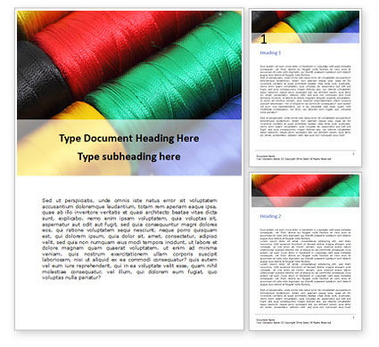 Careers/Industry: Sewing Threads Multicolored Closeup Word Template #15948