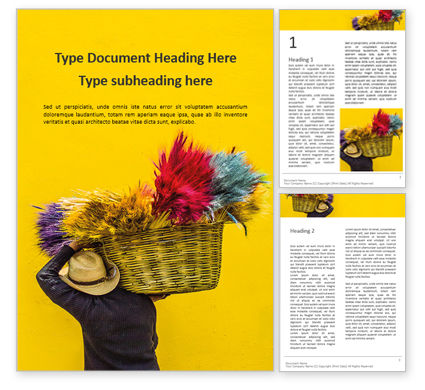 Art & Entertainment: Street Vendor Carries a Basket with Souvenirs Word Template #15960