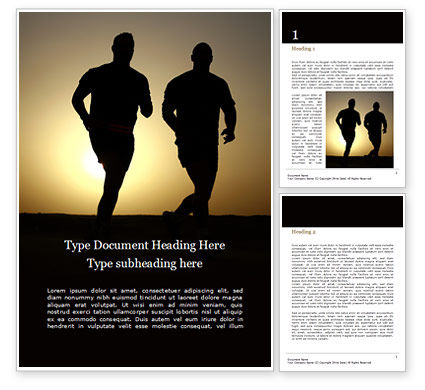 Sports: Running People Silhouettes Word Template #15962