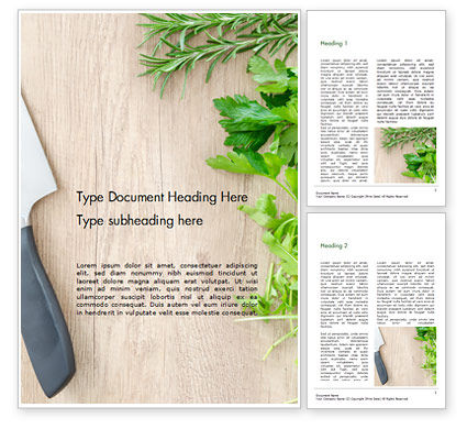 Food & Beverage: Fresh Herbs on Wooden Cutting Board Word Template #15963