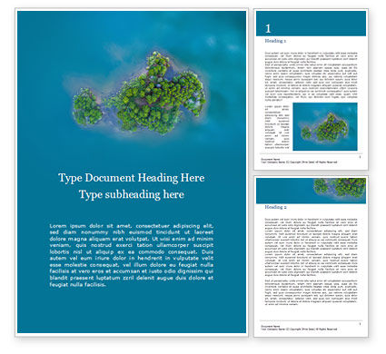 Nature & Environment: 从上面的热带岛屿免费Word模板 #15964
