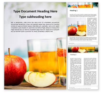 Food & Beverage: Red Apple and Two Glasses of Apple Juice Word Template #15965