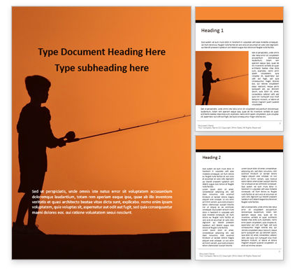 People: Silhouette of a Boy With a Fishing Rod on Sea Word Template #15969