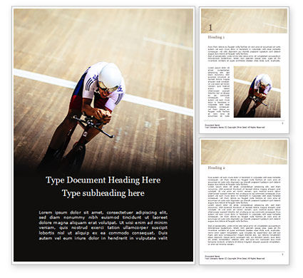 Sports: Racing Cyclist on a Cycle Track Word Template #15971
