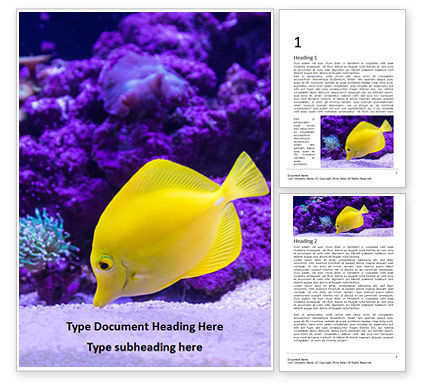 Nature & Environment: Yellow Tang Fish in Aquarium Word Template #15972