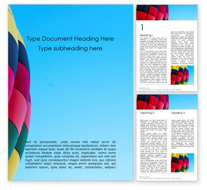 Art & Entertainment: Colorful Hot Air Balloon in Blue Sky Word Template #15973