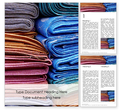 Careers/Industry: Pile of Colored Area Rugs Word Template #15979