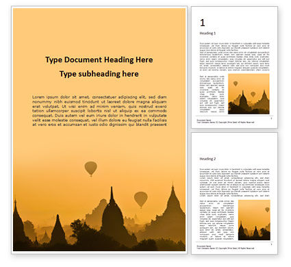 Construction: Hot Air Balloons over Ancient Pagoda in Bagan Word Template #15982