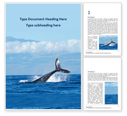 Nature & Environment: Seascape with Whale Tail Word Template #15984