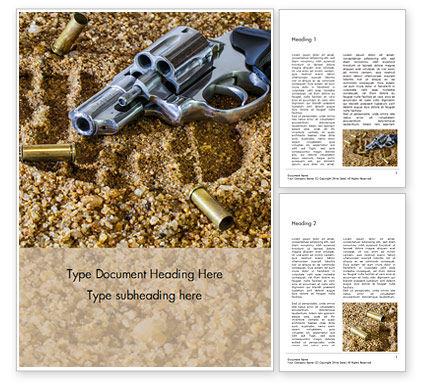 Legal: Modelo de Word Grátis - revólver na areia com cartuchos espalhados #15991